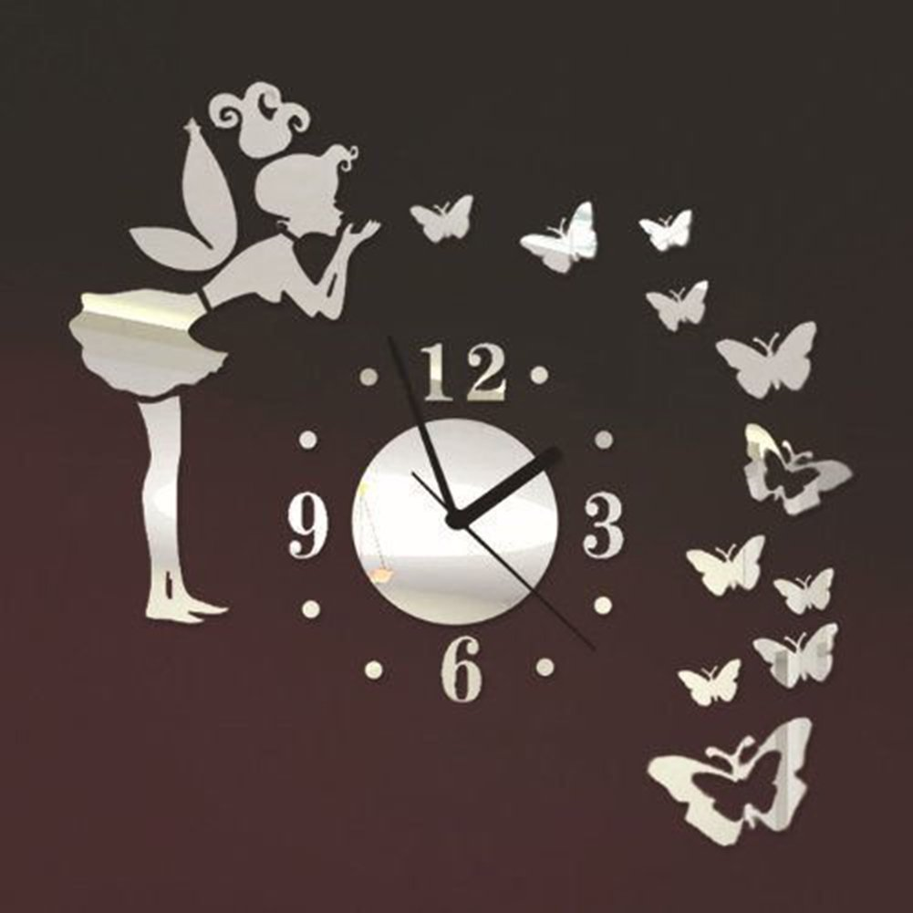 Angel Fairy Butterfly Wall Quartz Clock Watch with 3D DIY Acrylic Mirror Wall Decals for Living Room Kids Girls Bedroom Office Nursery Modern Decoration ...