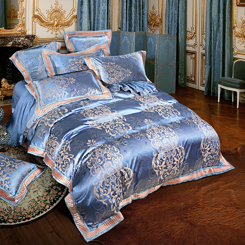 4pieces Jacquard Silk Cotton Luxury Bedding Set King Size Queen Bed
