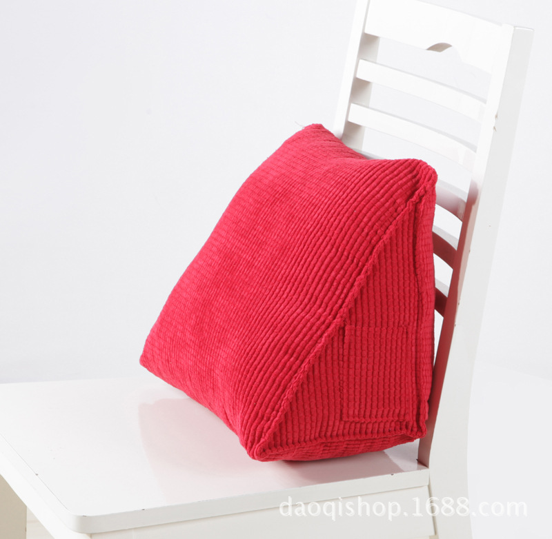 Solid Detachable Backrest Cushion For Office Chair Bed Corduroy Triangle Cushion 1pc China Global Trade One Stop Service Platform